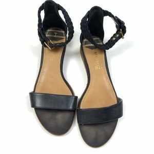 Sperry Black Leather Open Toe Ankle Buckle Sandals